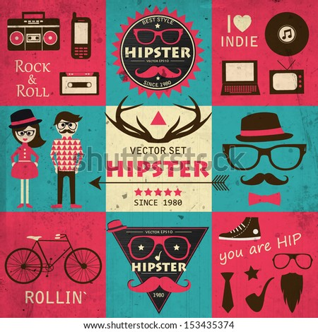 Hipster retro infographics. Vector set of hipster elements and icons. Blue, pink and beige grunge background. Vector illustration. - stock vector