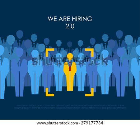 ?hoice best suited employee. Yellow human with red tie sign as a symbol of chosen one by recruiter. HR job seeking concepts. The chosen people. White crow, black sheep - an exception to the masses - stock vector