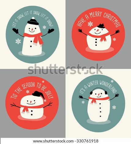 4 Holiday greeting cards or tags with snowmen in simple flat style  - stock vector
