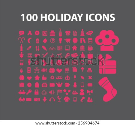100 holidays, event, party isolated icons, signs, illustrations concept set on background. vector - stock vector