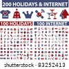 200 holidays & internet icons, signs, vector illustrations - stock vector