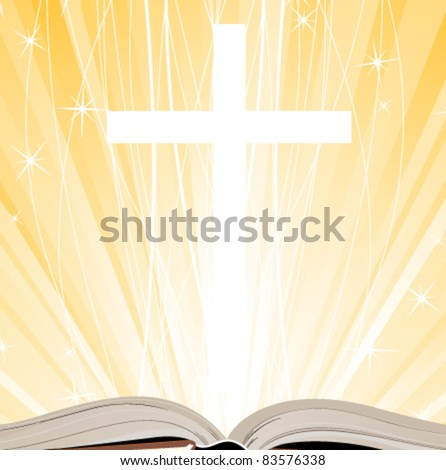 Holy Book, Cross and Lights - stock vector