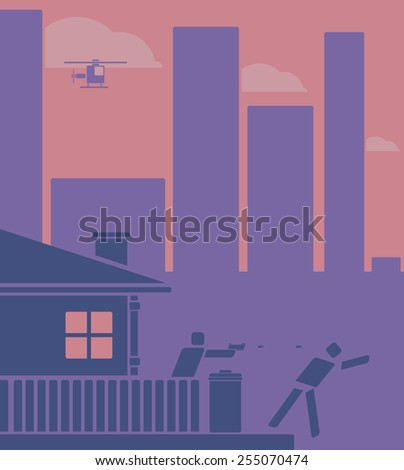 Homeowner shooting at a burglar from the garden of his urban house with police helicopter above  vector illustration in shades of purple and pink.  Pictogram and flat design style - stock vector