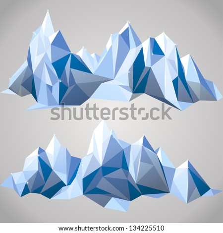 2 horizontal borders with paper mountains - stock vector
