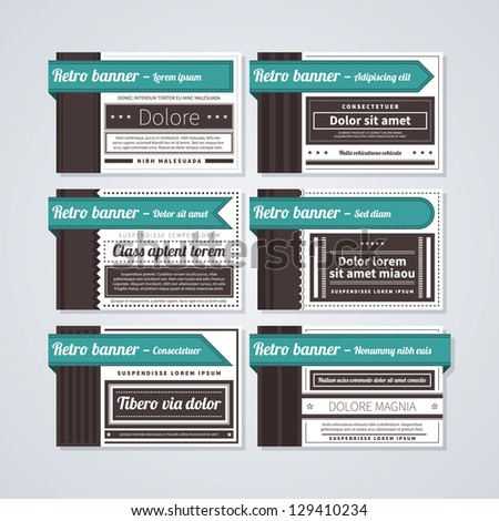 6 horizontal retro banners on white background. Useful for advertising or web design. - stock vector
