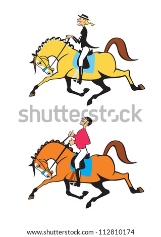 horse riders,caricature,dressage competition,cartoon image,vector pictures isolated on white background - stock vector