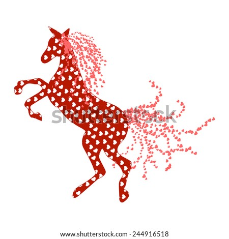 Horse silhouette with hearts  - Vector Illustration