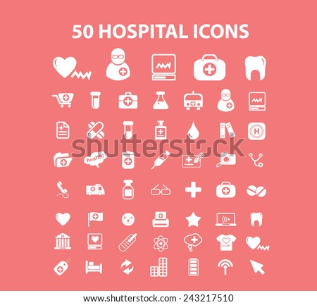 50 hospital, doctor, medical icons, signs, silhouettes set, vector - stock vector