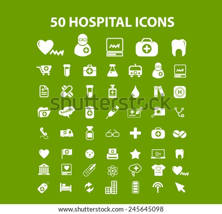 50 hospital, health care center icons, signs, illustration isolated on background set, vector - stock vector