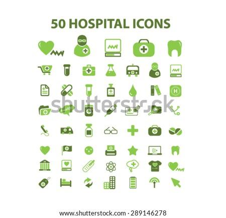 50 hospital, health care icons - stock vector