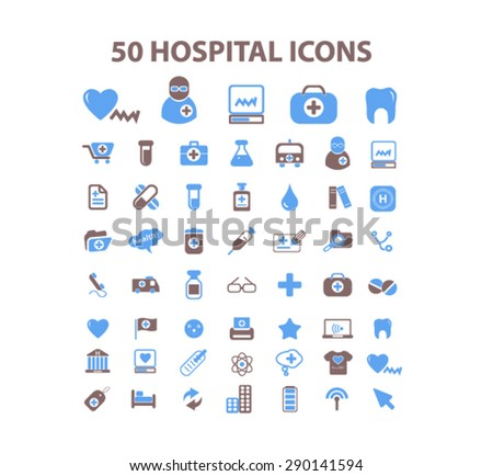 50 hospital, medicine, doctor isolated icons, signs, illustrations, vector for internet, website, mobile application on white background - stock vector