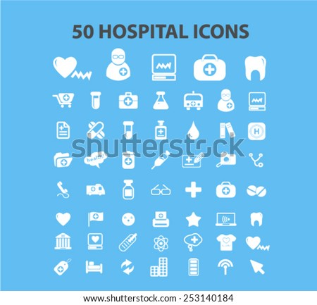50 hospital, medicine, health care icons, signs, illustrations set, vector - stock vector