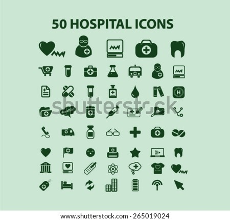 50 hospital, medicine icons, signs, illustrations set, vector - stock vector