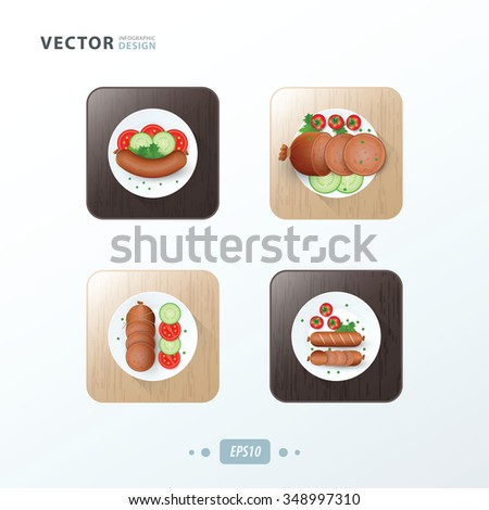 Hot dog Icons design food on wood - stock vector