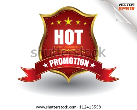?HOT SALE Tag Promotion red gold, sale festival - stock vector