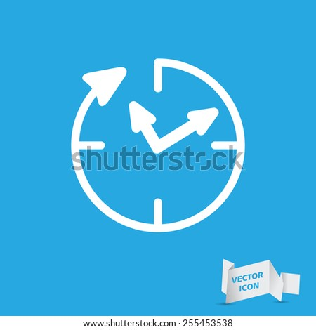 24 hour assistance , clock Icon Isolated on blue Background - stock vector