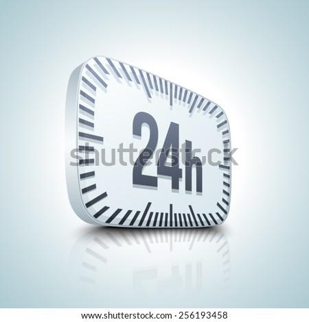 24 hour button - stock vector