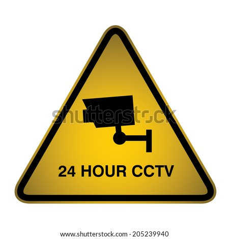 24 hour CCTV recording in operation sign - Vector