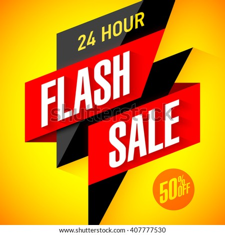 24 hour Flash Sale banner. Vector illustration. - stock vector