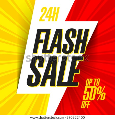 24 hour Flash Sale bright banner. Vector illustration. - stock vector