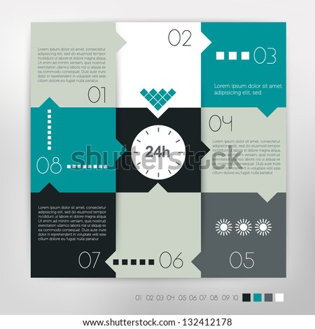 24 hour modern design speech  diagram for infographic. Vector numbered banners template in cold colors. - stock vector