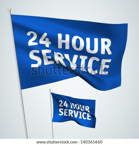 24 hour service - blue vector flags. A set of wavy 3D flags created using gradient meshes. EPS 8 vector - stock vector