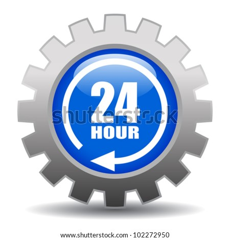 24 hour service gear icon, eps10 illustration - stock vector