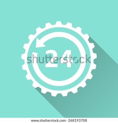 24 hour service icon, vector illustration, flat design. - stock vector