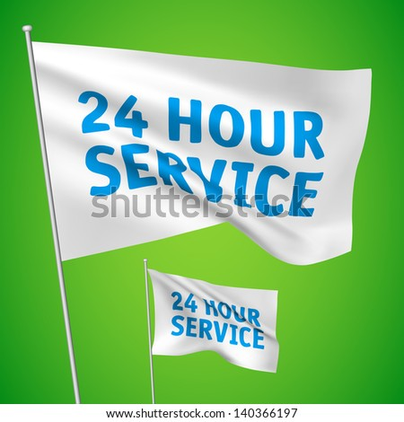 24 hour service - white vector flags. A set of wavy 3D flags created using gradient meshes. EPS 8 vector