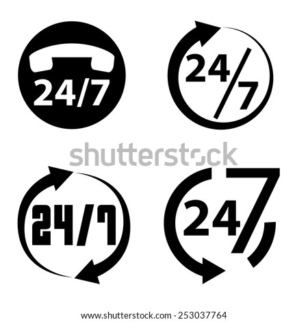 24 hours a day and 7 days a week icon collection, vector illustration - stock vector