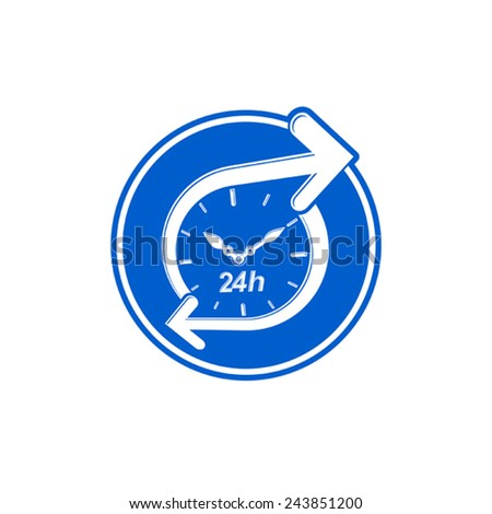 24 hours-a-day concept, clock face with a dial and an arrow around. Day-and-night interface icon - stock vector
