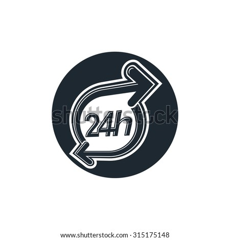 24 hours-a-day concept, clock face with dial and an arrow around. Day-and-night interface icon, for use in web design.   - stock vector