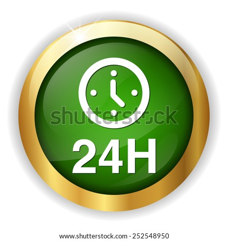 24 hours a day icon isolated on white background - stock vector