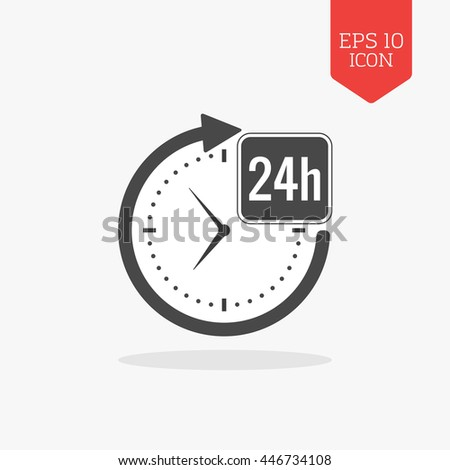 24 hours a day icon, open around the clock concept. Flat design gray color symbol. Modern UI web navigation, sign. Illustration element - stock vector