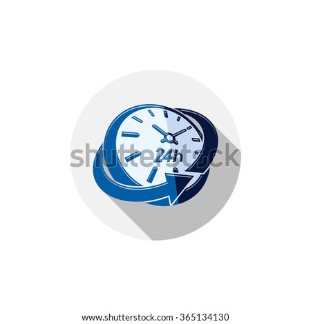 24 hours-a-day interface icon, 3d clock. Time is running out idea symbol isolated on white, for use in advertising. - stock vector