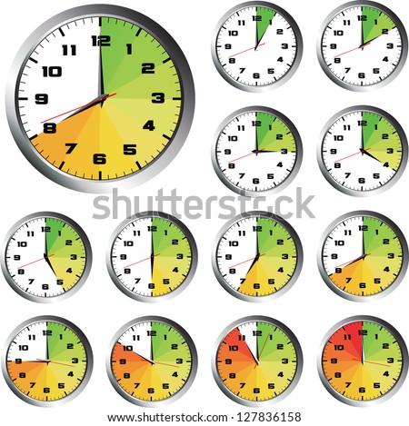 12 Hours Clock Set - stock vector