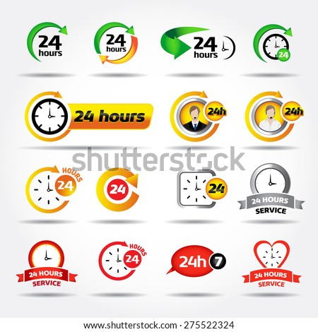 24 hours. Colorful vector icons set: 24/7, Badge, Label or Sticker for Customer Service, Support, Call Center or CRM Concept Isolated on White Background - stock vector