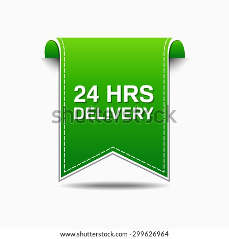24 Hours Delivery Green Vector Icon Design