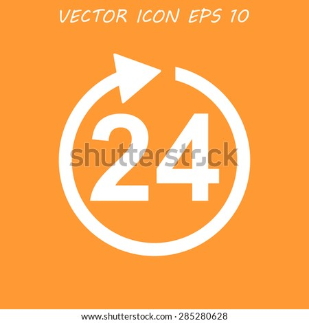 24 hours icon. Flat vector illustrator EPS - stock vector