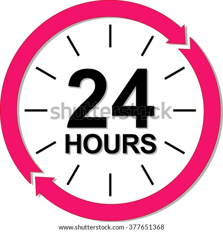 24 hours logo. Vector illustration - stock vector