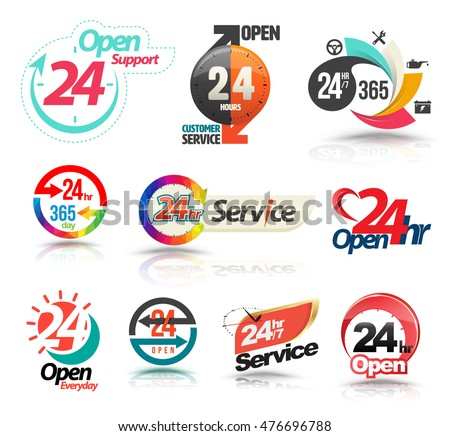 24 hours open customer service collection. Vector illustration.
