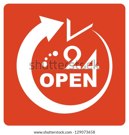 24 Hours Open icon - stock vector