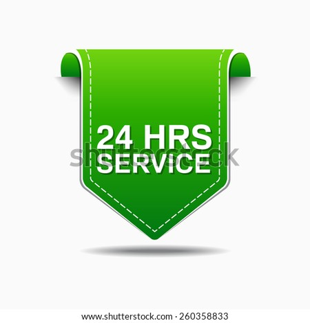 24 Hours Service Green Vector Icon Design