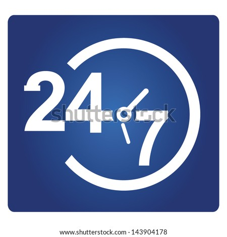 24 hours service sign - stock vector