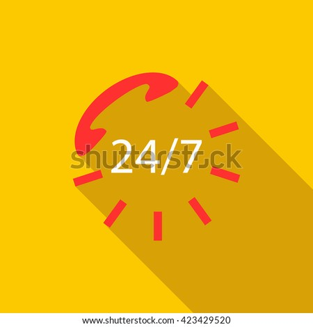 24 hours service sign icon, flat style - stock vector