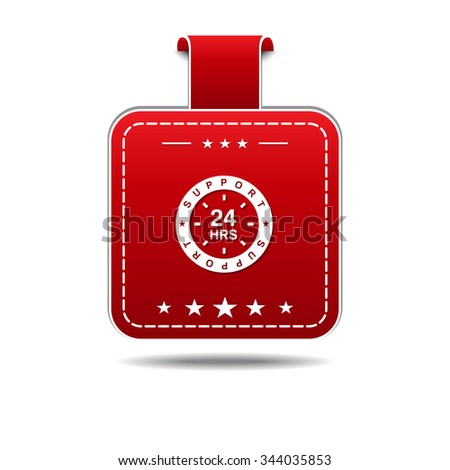 24 Hours Support Red Vector Icon Design