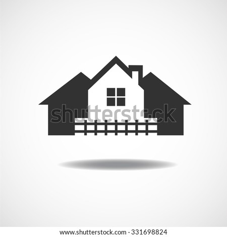 House Real Estate country fence logo design Vector illustration EPS10 - stock vector