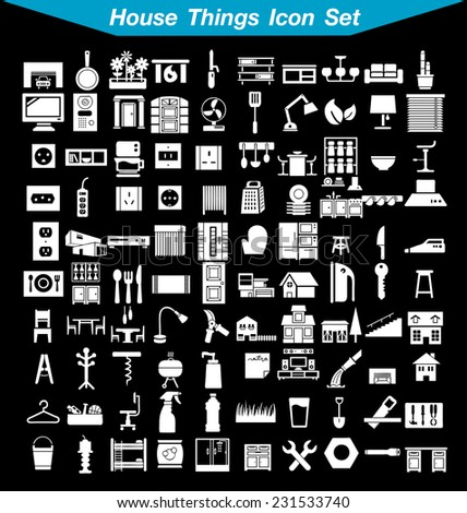 House things icon set 1  - stock vector