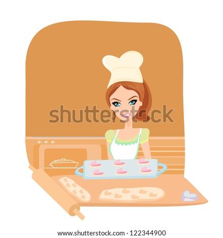Housewife serving cookies - stock vector