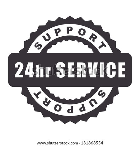 24hr Service stamp - stock vector